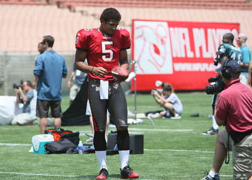 Josh Freeman (Buccaneers) getting ready to do his touchdown celebration