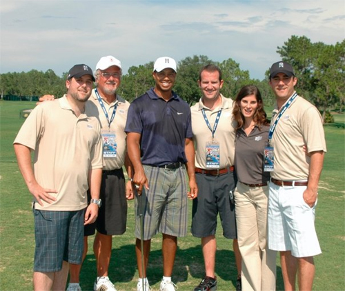 Dave Sanders on the far left, with staff. And Tiger Woods.