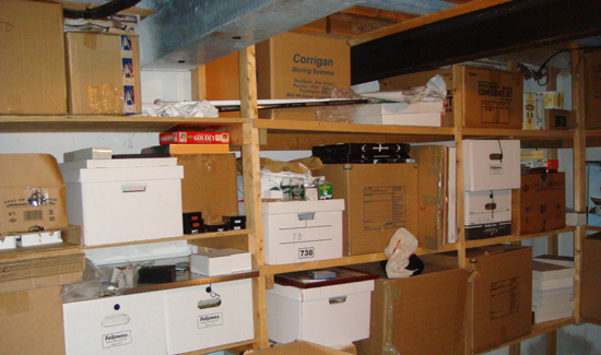 Boxes of thousands of Upper Deck cards Jeff Silverman keeps stored.