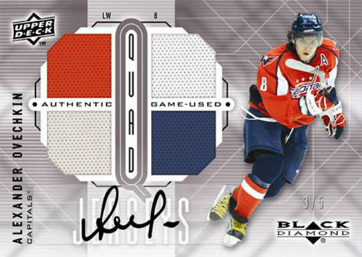 An Alexander Ovechkin autograph game-used jersey card from an upcoming Upper Deck NHL set