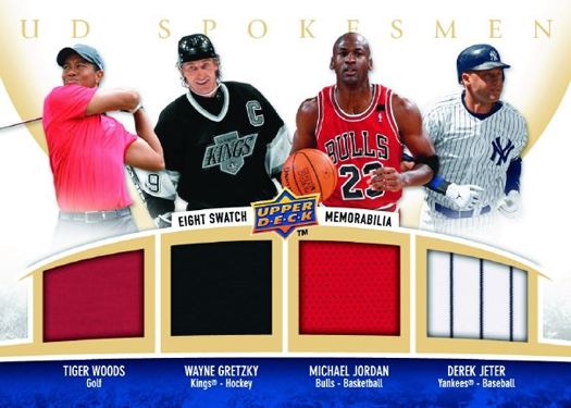 A rare game-used memorabilia card from Upper Deck of Tiger Woods, Wayne Gretzky, Michael Jordan and Derek Jeter