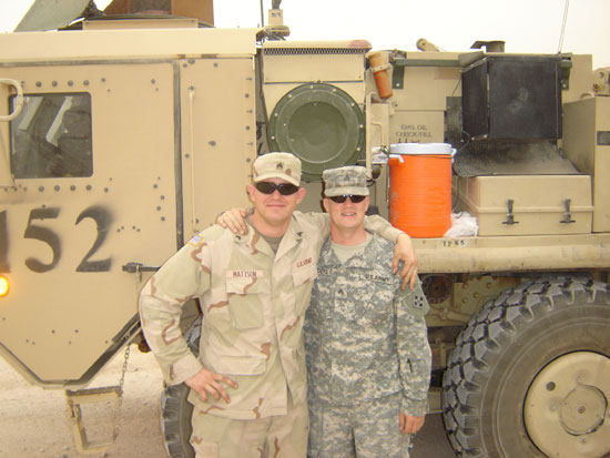 Josh with a compatriot in Iraq.