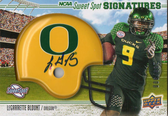Upper Deck's 2010 NCAA Sweet Spot LeGarrette Blount Signed Helmet Card.
