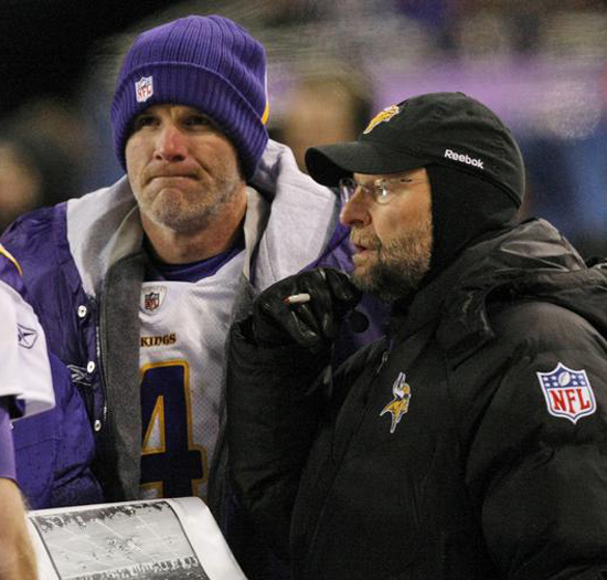 Brett Favre and Brad Childress