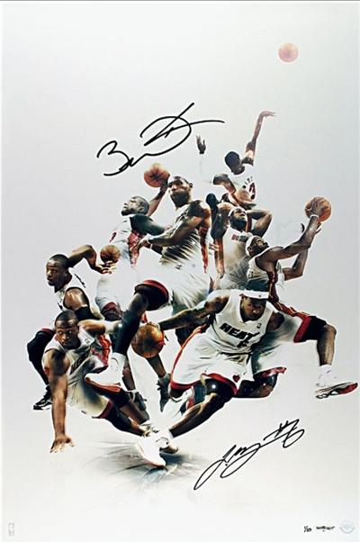 Miami Heat dual signed LeBron James & Dwyane Wade photo