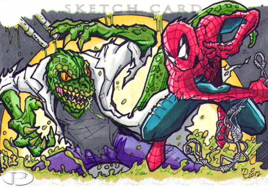 2012-Upper-Deck-Marvel-Premier-Multi-Panel-Sketch-Cards-Puis-Caldaza-Spiderman-Lizard-Inside