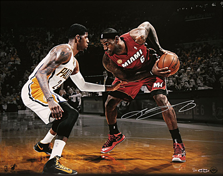 LeBron-James-Miami-Heat-Gift-Guide-Dad-Grad-Holiday-Best-Playoff-Match-Up-Paul-George-Vs-Autograph-Photo