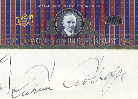 Expired-Redemption-Raffle-Signs-of-History-Cut-Signature-Calvin-Coolidge