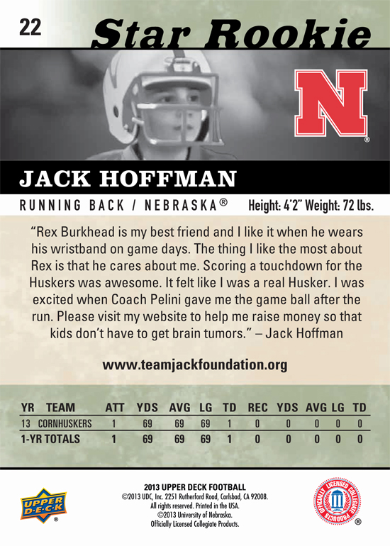 2013-Upper-Deck-Football-Jack-Hoffman-Star-Rookie-Back