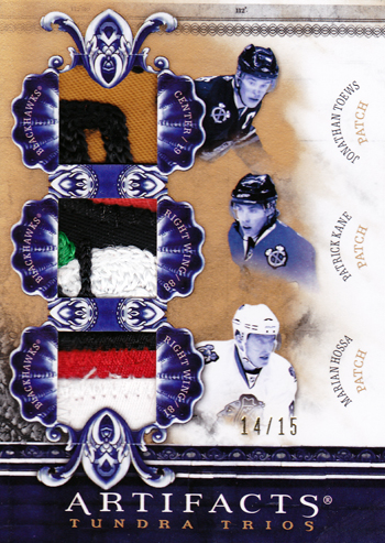 Chicago-Blackhawks-10-11-NHL-Artifacts-Triple-Tundra-Patch-Toews-Hossa-Kane-Card