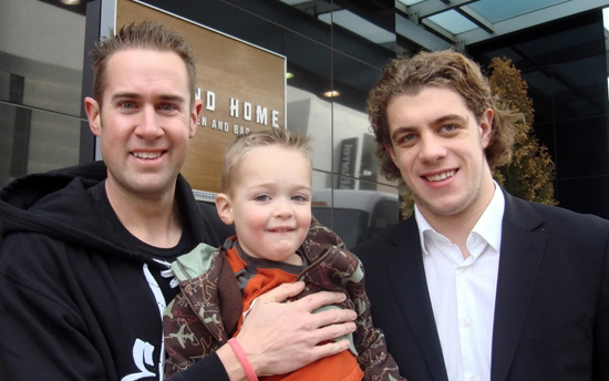 Barrie and his son Austin meeting Anze Kopitar.