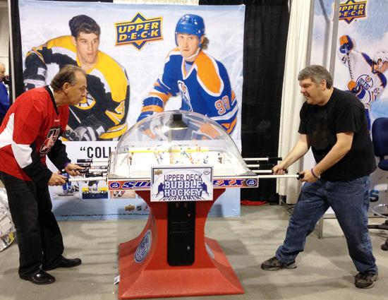 Upper-Deck-Bubble-Hockey-Tournament-Fans-Dr-Brian-Price-Kelvin-Card-Sharks