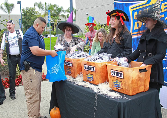 Upper-Deck-Trick-or-Trade-Halloween-Event-Staff-in-Costume-Hand-Out-Packs-at-Headquarters