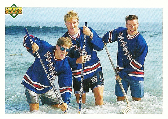 1991-1992-Upper-Deck-Hockey-NHL-440-Rangers-Rookies-Beach-Ocean