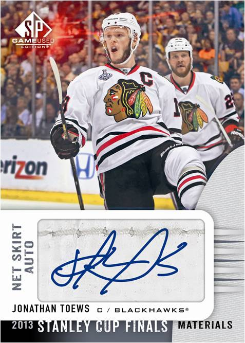 2013-14-NHL-SP-Game-Used-Stanley-Cup-Finals-Net-Skirt-Autograph-Jonathan-Toews