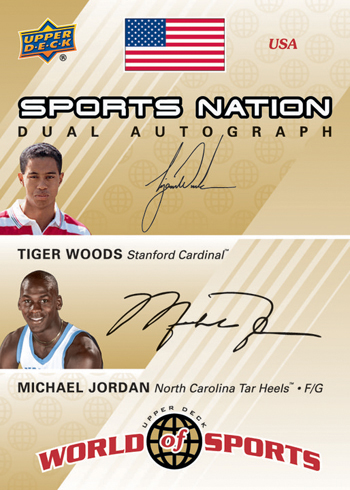 Upper-Deck-25th-Anniversary-Collector-Memories-Tiger-Woods-Michael-Jordan-World-of-Sports-Dual-Autograph