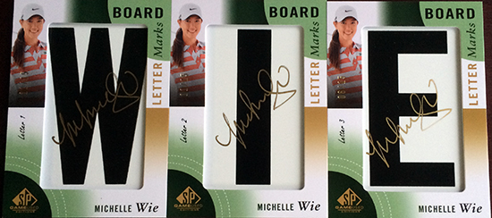 2014-SP-Game-Used-Golf-Leaderboard-Letter-Marks-Michelle-Wie-Full-Set-Nameplate