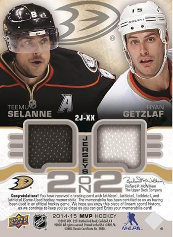 2014-15-NHL-Upper-Deck-MVP-2-on-2-Jersey-Cards-Selanne-Getzlaf-Ducks-Back