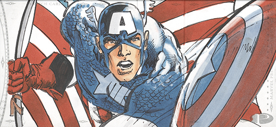 2014-Marvel-Premier-Upper-Deck-Multi-Panel-Sketch-Card-Neal-Adams-Captain-America