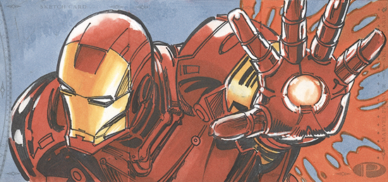 2014-Marvel-Premier-Upper-Deck-Multi-Panel-Sketch-Card-Neal-Adams-Iron-Man