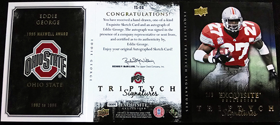 2013-Upper-Deck-Exquisite-Football-Autograph-Triptych-Signatures-Eddie-George