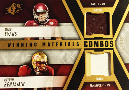 2014-SPx-Football-Winning-Materials-Dual-Evans-Benjamin