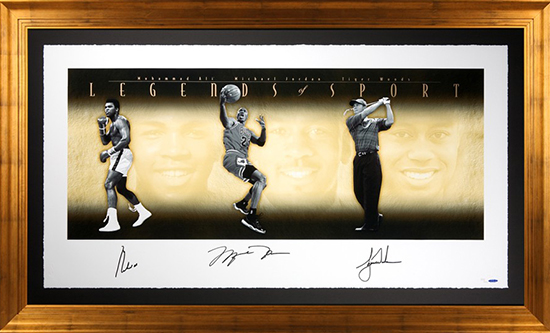 Group-Gift-Idea-Dad-Father-Upper-Deck-Authenticated-Autographed-Tiger-Woods-Ali-Michael-Jordan-Side