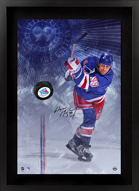 NHL-Stanley-Cup-Final-New-York-Rangers-Upper-Deck-Authenticated-Signed-Wayne-Gretzky-Breaking-Through-Puck