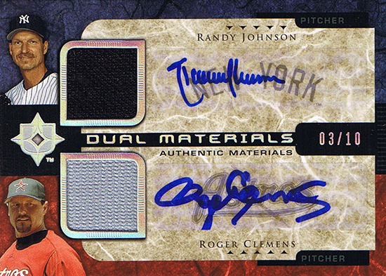 2015-Baseball-Hall-of-Fame-Randy-Johnson-Upper-Deck-Roger-Clemens-Dual-Autograph-Card