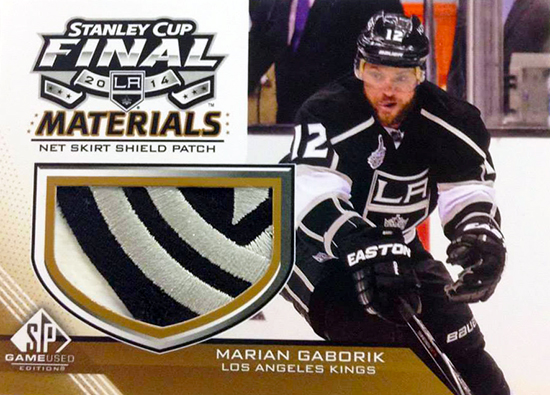 Live-2014-15-NHL-SP-Game-Used-Stanley-Cup-Final-Kings-Net-Skirt-Patch-Marian-Gaborik