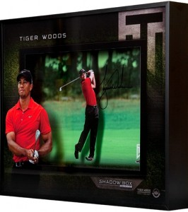 tiger woods autographed approach shadowbox 82212 major champion red shirt