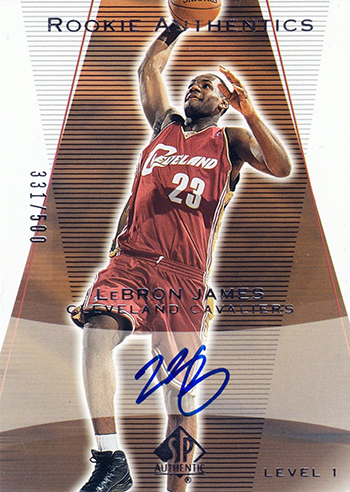 sp authentic best autograph lebron james cleveland cavaliers rookie autograph card