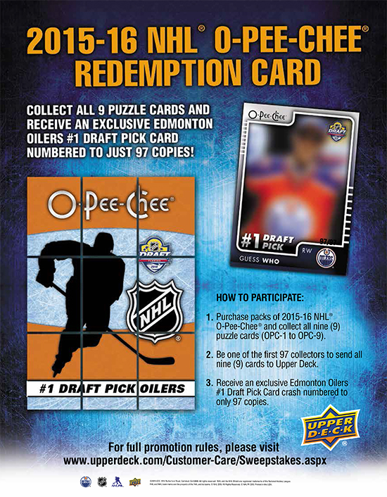 2015-16 nhl o-pee-chee connor mcdavid draft pick puzzle promotion