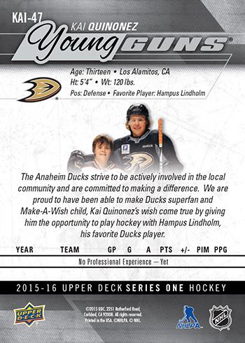 2015-16-NHL-Upper-Deck-Make-A-Wish-Kai-Quinonez-Rookie-Card-Back