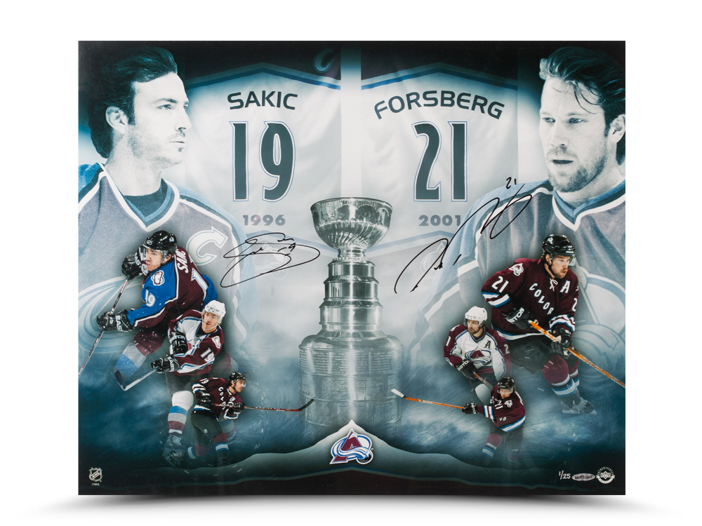 "Joe Sakic and Peter Forsberg Dual Autographed 2x Champs 20""x24"" image"