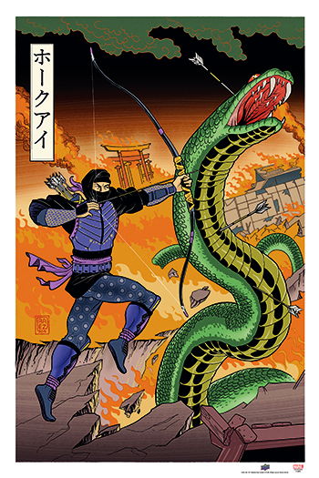 the-avengers-ud-gallery-japanese-woodblock-hawkeye-panel