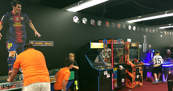 Upper-Deck-Dave-Adams-Williamsville-Night-air-hockey-video-Game-In-Store-Kids-Fun