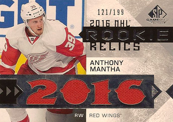 2016-17-NHL-Upper-Deck-Rookie-Card-Anthony-Mantha-Detroit-Red-Wings-SP-Game-Used