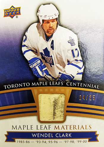 2017-Upper-Deck-Toronto-Maple-Leafs-Centennial-Set-Materials-Wendel-Clark