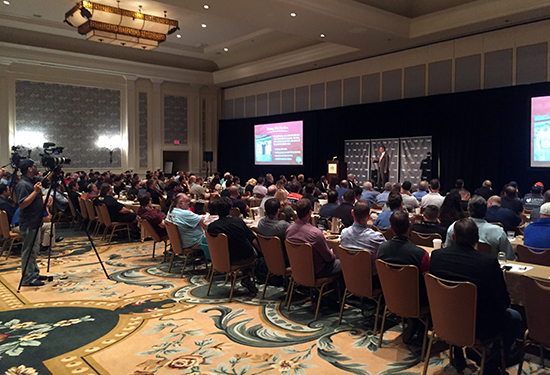 2018-Upper-Deck-Certified-Diamond-Dealer-Conference-Keynote-JB-Bernstein-Million-Dollar-Arm-Packed-Crowd
