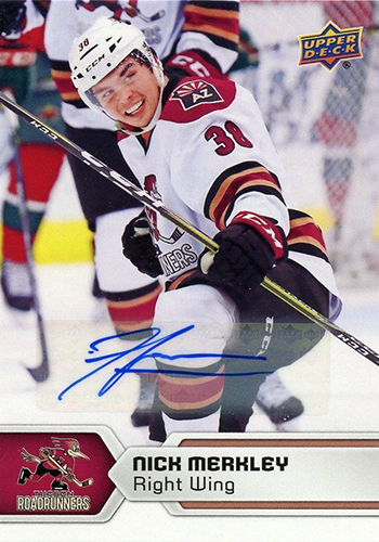 2017-18-Upper-Deck-AHL-Hockey-Trading-Cards-XRC-Autograph-Nick-Merkley-Tucson-Roadrunners