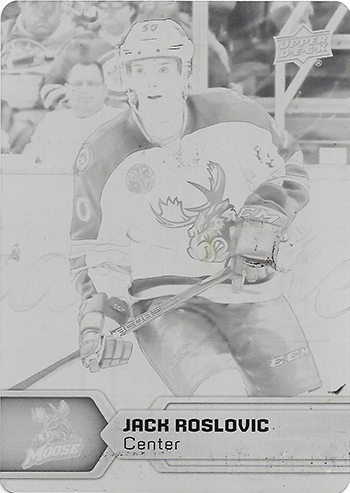2017-18-Upper-Deck-AHL-Hockey-Trading-Cards-XRC-Printing-Plate-Jack-Roslovic-Manitoba-Moose
