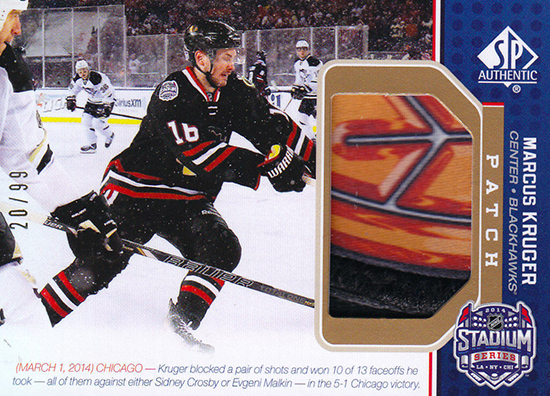 2014-NHL-Stadium-Series-Blackhawks-Penguins-Marcus-Kruger-Patch-SP-Game-Used