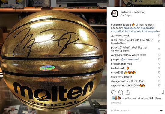 2019-upper-deck-authenticated-buckets-basketball-michael-jordan-mj-23-gold-autograph-ball-uda