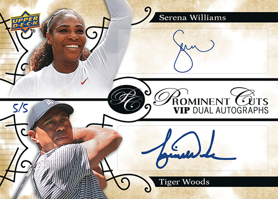 2019 upper deck national sports collectors convention prominent cuts autograph tiger woods serena williams