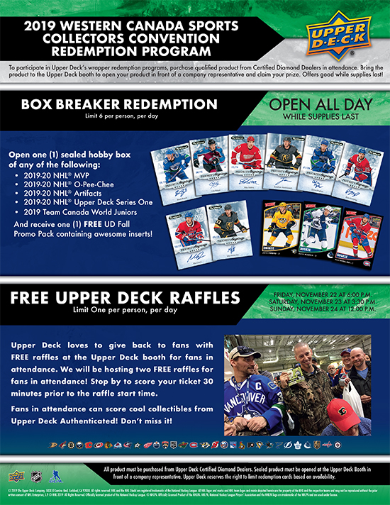 upper deck wrapper redemption program western canada sports collectors convention