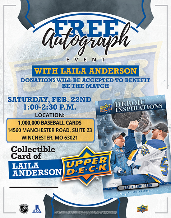 upper deck laila anderson autograph signing